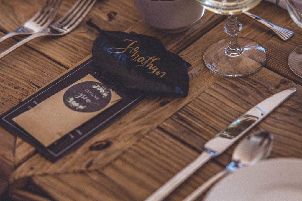 Place d'un invité avec un porte nom lors d'une réception